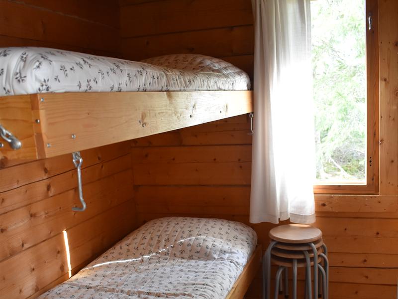 Mökissä on vuoteet neljälle hengelle.